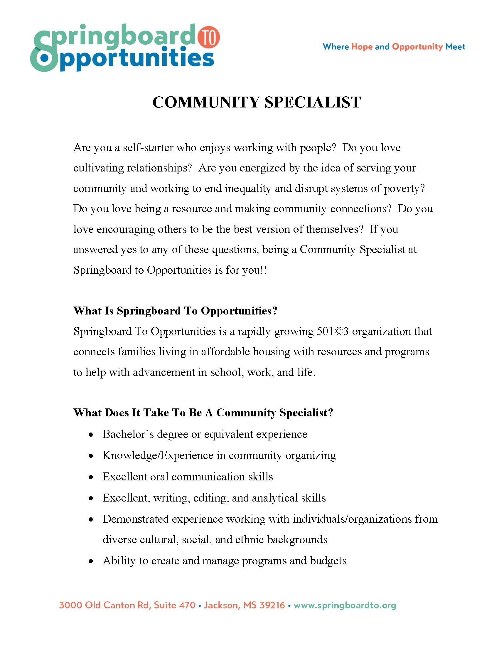Community Specialist - Jackson