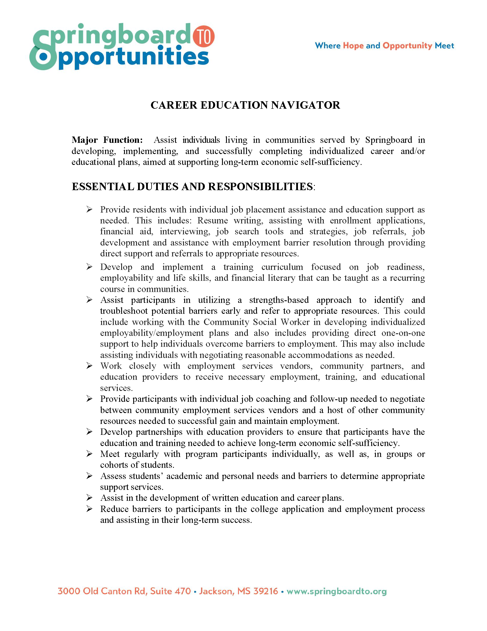 Career and Education Navigator Position