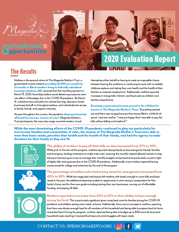 Evaluation report from 2020 Magnolia Mother's Trust cohort