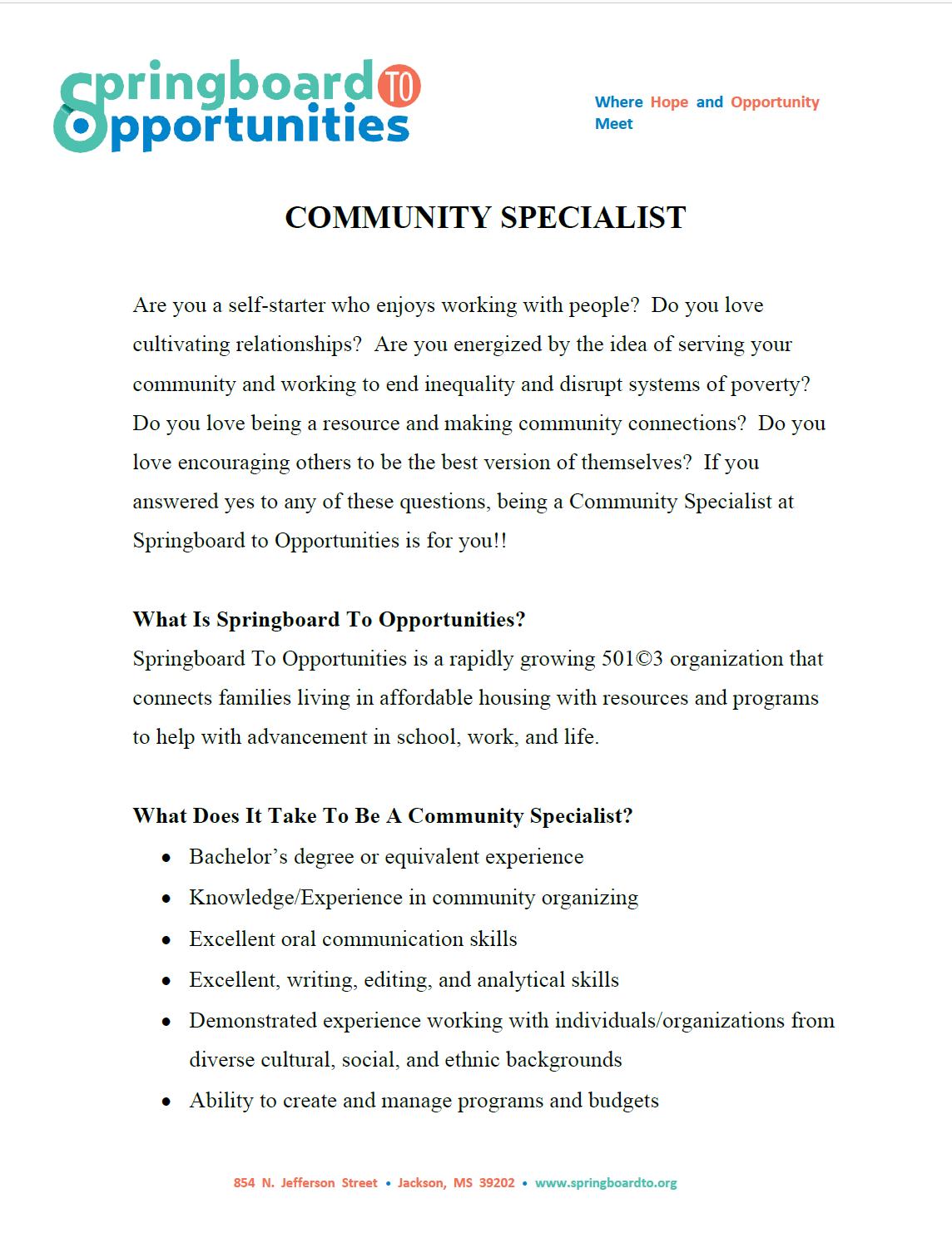 Community Specialist Job Description